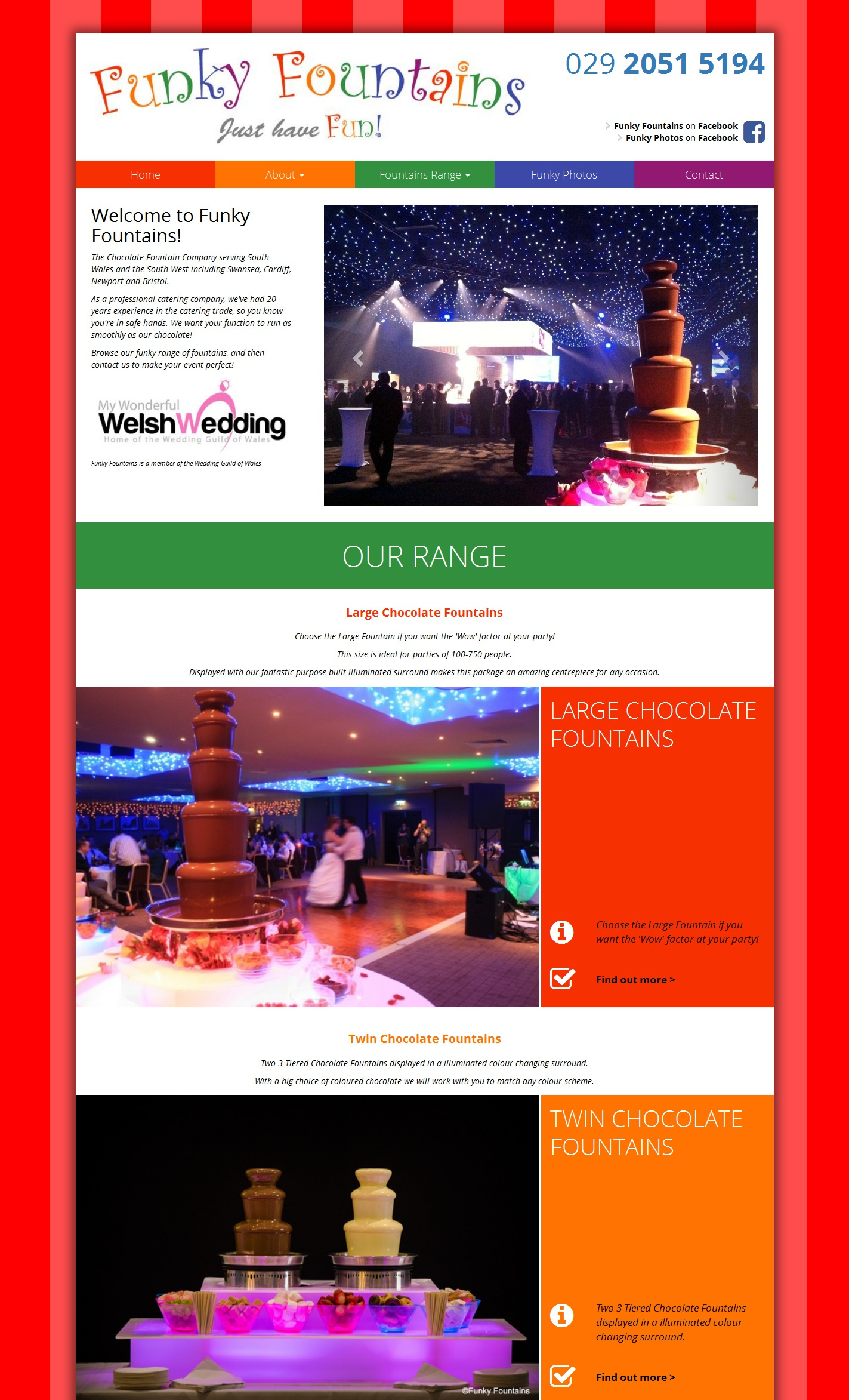 Funky Fountains... South Wales Chocolate & Drinks Fountains... website by Eazyweb
